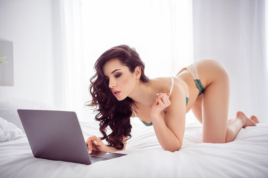 Profile photo of hot naughty lady home remote work online chat undressing show writing client sms ready take off bra for money stand knees cat pose wear bikini sheets bedroom indoors