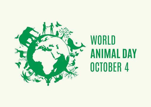 World Animal Day Poster with green Planet Earth with animals and plants icon vector. Silhouette of Planet Earth with fauna and flora icon. Environmenta icon vector. Animal Day Poster, October 4