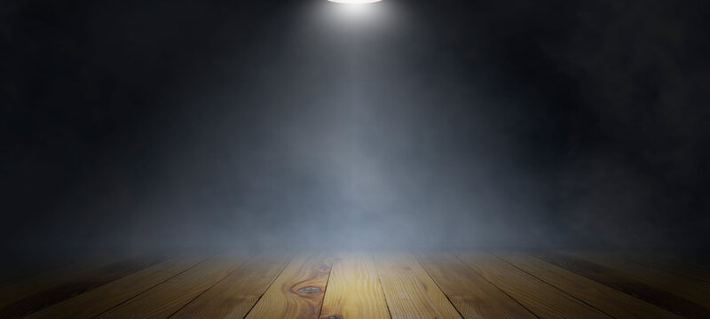 Empty wooden plank floor with smoke float up on dark background, used as a studio background wall to display your products.