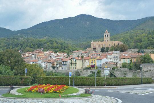 PRATS DE MOLLO LA PRESTE, FRANCE, EUROPE, SEPTEMBER 2020. Entrance on the road to Prats de Mollo. In front of it you can see a roundabout with a Catalan flag (estelada)