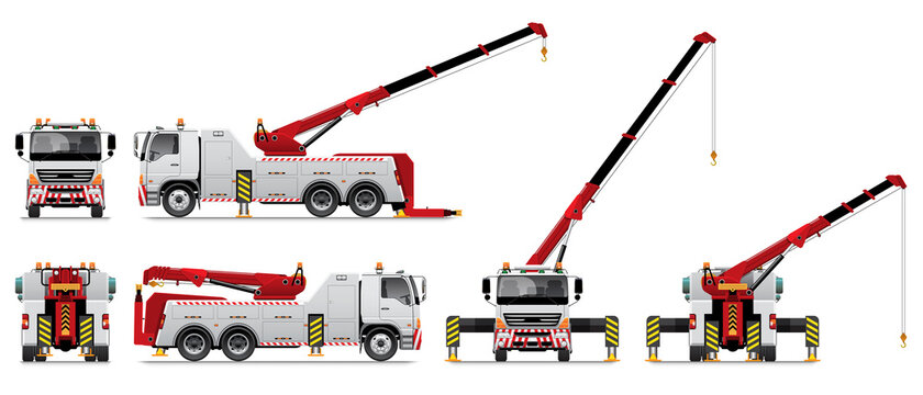 VECTOR EPS10 - heavy duty tow truck with crane working, isolated on white background.