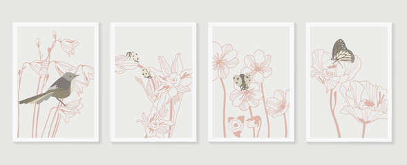 Bird Botanical wall art vector set. Earth tone boho foliage line art drawing with  abstract shape.  Abstract Plant Art design for print, cover, wallpaper.