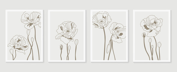 Botanical wall art vector set. Earth tone boho foliage line art drawing with  abstract shape.  Abstract Plant Art design for print, cover, wallpaper, Minimal and  natural wall art. Fototapete