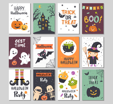 Halloween invitation set, greeting card design. Hand drawn vector illustration.