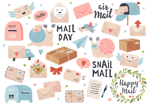 Mail and post icon set with envelopes and snail cartoon. Perfect for scrapbook, sticker kit, tags. Hand drawn vector illustration.