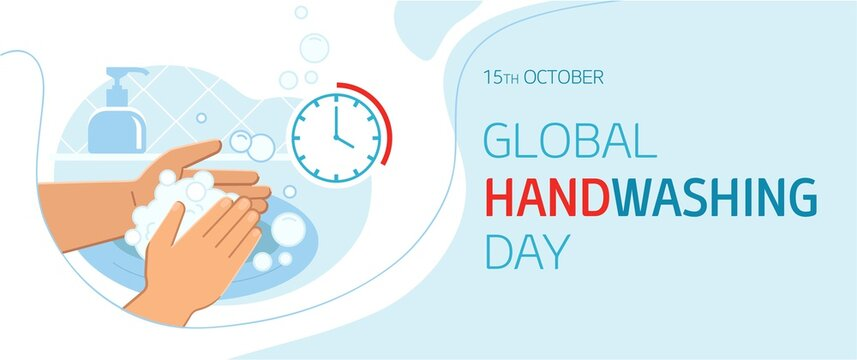 Global handwashing day - October 15th - horizontal banner template. Person washing hands in sink carefully with soap foam from dispenser for 20-30 seconds to prevent infections including coronavirus