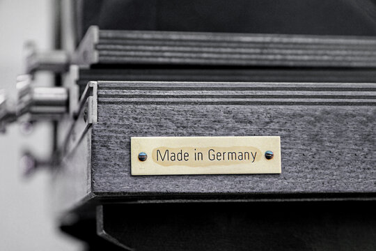 Manufacturer sign Made in Germany on a machine.