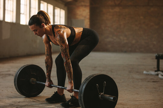 Fitness female doing weightlifting workout
