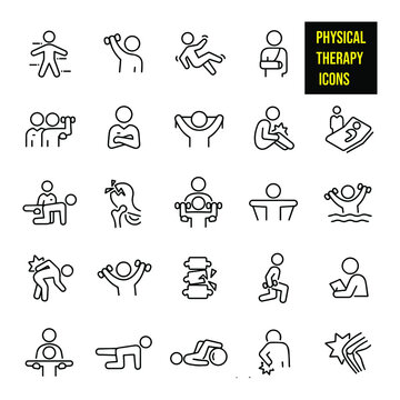 Physical Therapy Thin Line Icons -  stock illustration. physical therapists, patients, the human body, lifting weights, rehabilitation, fall, injury, broken arm, personal trainer, exercises.