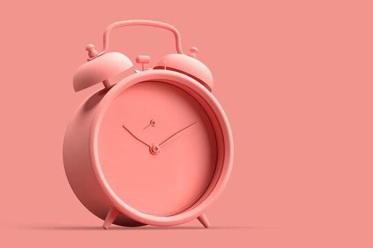 Minimalistic illustration of vintage alarm clock on pink background
