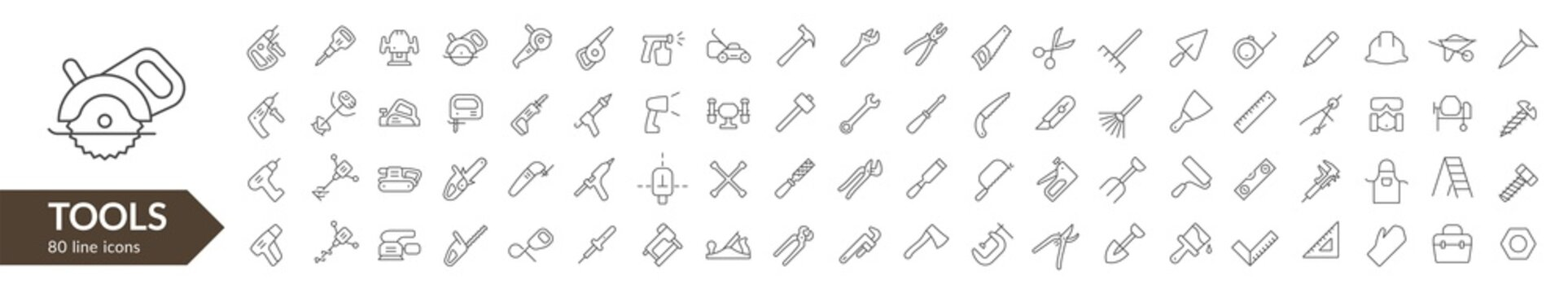 Tools line icon set. Isolated signs on white background. Vector illustration. Collection