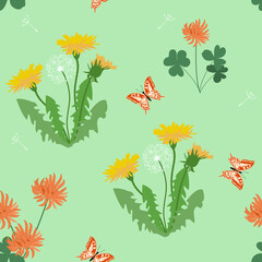 Seamless summer pattern with dandelions and butterflies on a green background.