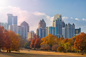 Wall Mural - Atlanta, Georgia, USA midtown skyline from Piedmont Park