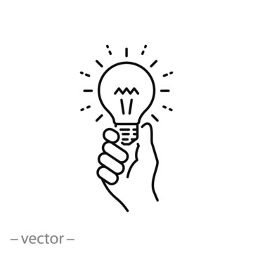 hand holding light bulb, icon, concept innovation idea, vision creative investment, thinking leadership, thin line web symbol on white background - editable stroke vector illustration eps10