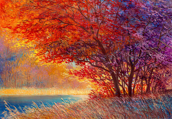 Autumn on the river. landscape . Painting: canvas, oil.