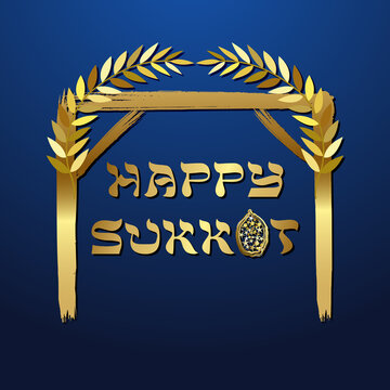 A Happy Sukkot card concept. Creative text. Jewish traditional holiday. Decorative festive sign. Isolated abstract graphic design template. Yiddish calligraphy. Night background. Golden silhouette.