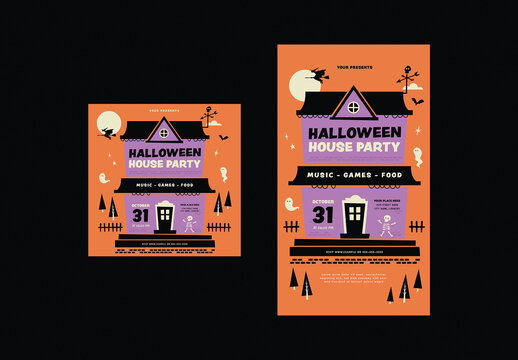 Halloween House Party Social Media Post Layout