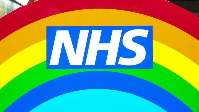 London Uk, October 02 2020, NHS National Health Service Rainbow Logo With No People
