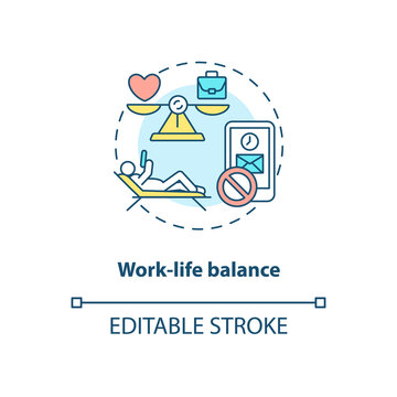 Work-life balance concept icon. Screen addiction prevention idea thin line illustration. Technology use. Work addiction. Mental wellbeing. Vector isolated outline RGB color drawing. Editable stroke