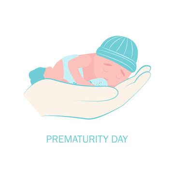 World prematurity day. 17 November.  Little Newborn Baby Inside Neonatal Clinic Treatment and Care Concept. Flat vector illustration