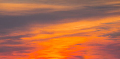 Wall Mural - Beautiful orange dramatic sunset sky
