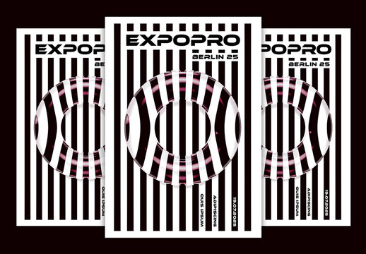 Abstract Black and White Striped Event Poster Layout