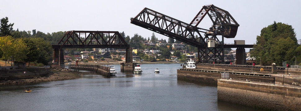 Hiram M. Chittenden Locks and Rail Drawbridge - Salmon Bay Bridge