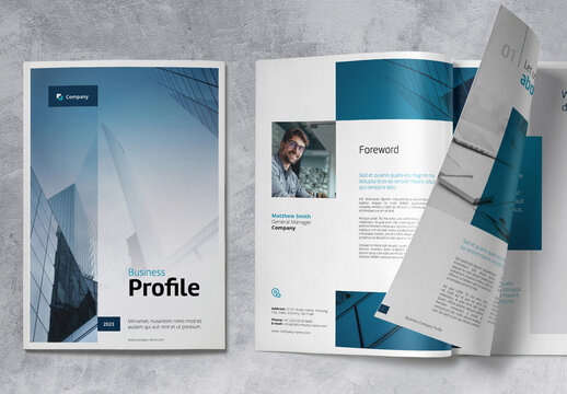Business Brochure Company Profile with Blue Accents