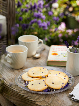 Lavender cookies and tea in the garden