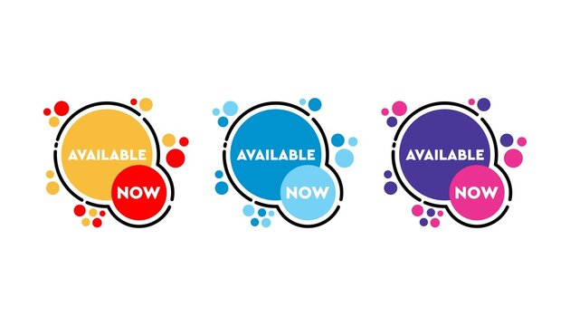 Available now sticker set banner design template.