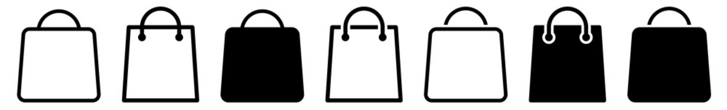Shopping Bag Icon Black | Paper Bags Illustration | Online Shop Symbol | E-Commerce Logo | Commerce Sign | Isolated | Variations