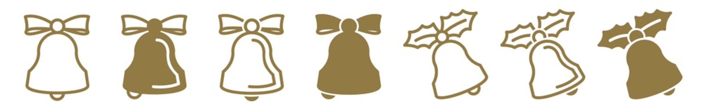 Christmas Bell Icon Gold | Bow Holly Bells Illustration | Jingle Symbol | Ribbon Handbell Logo | Xmas Sign | Isolated | Variations