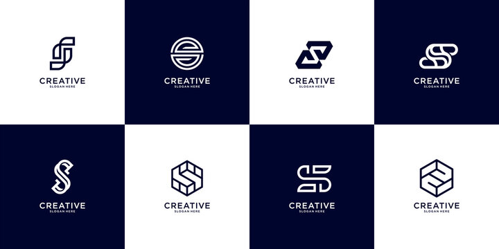 Set of abstract initial letter S logo in black and white template. icons for business of luxury, elegant, simple. Premium Vector