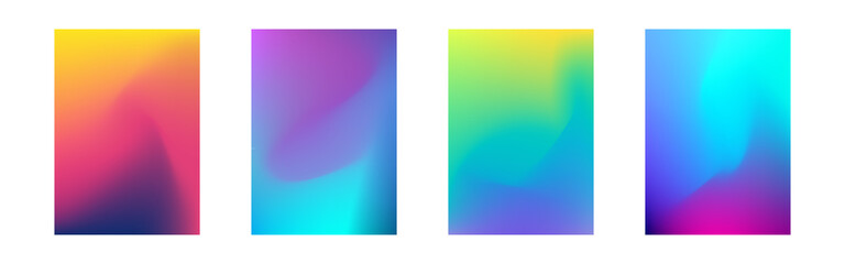 Cover gradient design set. A4 abstract color. Minimal fluid design collection. Business or advertising design. Bright dynamic mesh for poster, flyer, banner. Vector illustration
