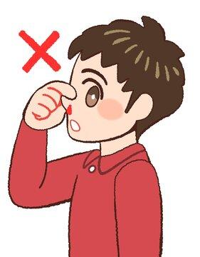 鼻血の時の間違った対応をやってみせる男の子のイラスト