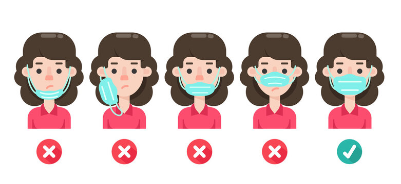 Women are showing the wrong use of medical masks and showing correct ways to prevent the coronavirus.