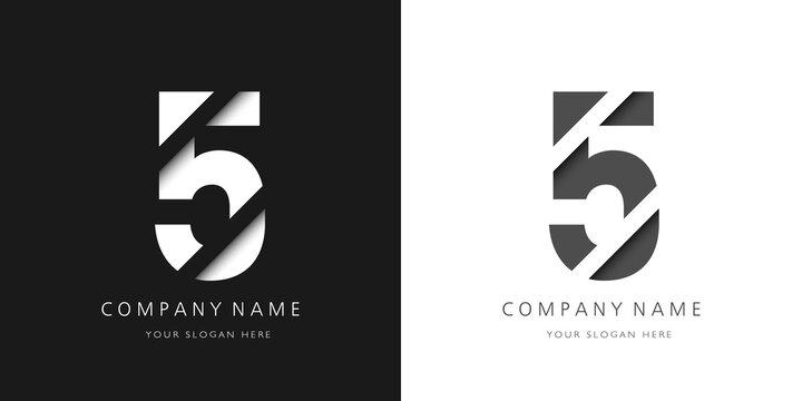 five number modern logo broken design