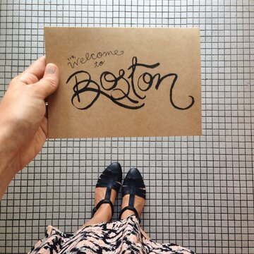 "Hand Lettered """"Welcome to Boston"""" Card"