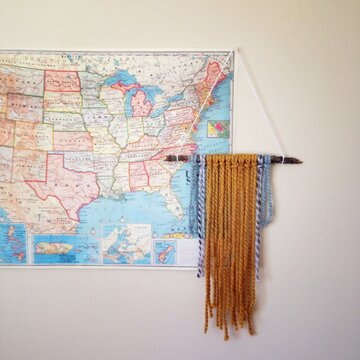 Yarn Wall Hanging Craft in Front of United States Map