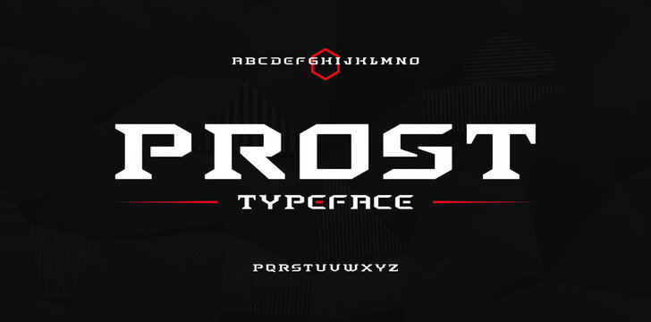 Bold modern strong techno, sci fi sport display style font, abstract geometric clean letter set slab serif prost typeface