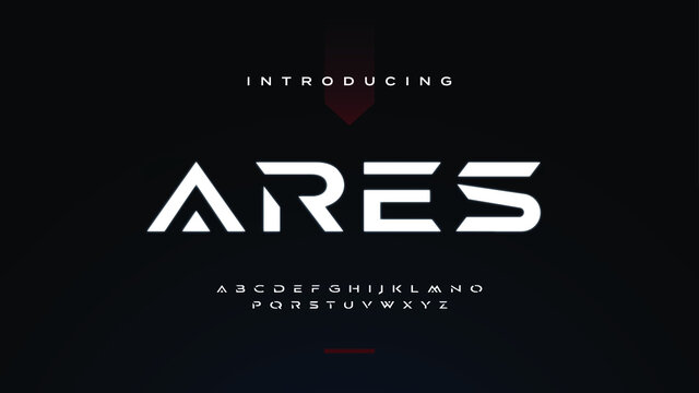 Futuristic ancient modern techno sci fi display font, abstract geometric stencil expanded alphabet, clean monospaced letter set ares typeface