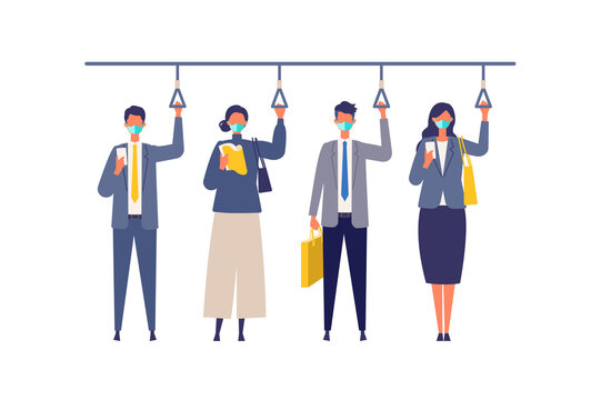 A day of working businessmen in the new normal lifestyles. Flat design vector illustration of masked business people.