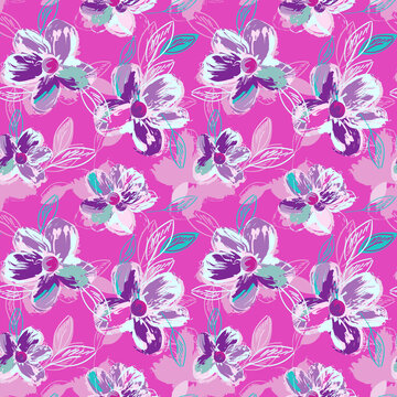 Hand Sketched Flowers. Floral Seamless Pattern.