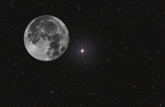 Composition of full moon near the double star Albireo also known as β Cygni. All two photos are taken by telescope with a lot of stars at background.