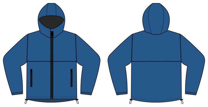 windproof hooded jacket ( parka) vector illustration / blue