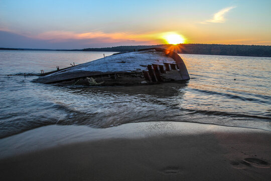 Lake Superior shipwreck on a Great Lakes beach in the Pictured Rocks National Lakeshore in Munising Michigan.