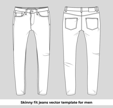 Skinny fit jeans vector template for men