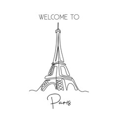 Single one line drawing of Eiffel Tower landmark wall decor poster. Iconic place in Paris, France. Tourism and travel greeting postcard concept. Modern continuous line draw design vector illustration