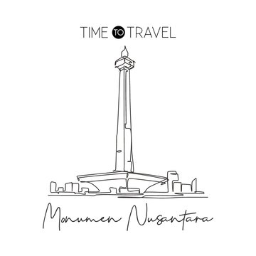 Depok, Indonesia - August 5, 2019: One single line drawing Monas landmark. Iconic place in Jakarta, Indonesia. Tourism travel postcard wall decor home art poster print concept. Vector illustration