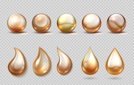 Realistic oil drops. Yellow gasoline, petrol lubricant or machine grease drip and spheres. Eco, bio cosmetic and beauty golden fluid, serum capsule. Vector 3D organic liquid for cooking or honey set